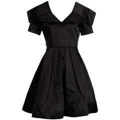 Arnold Scaasi Vintage Black Silk Satin Dress