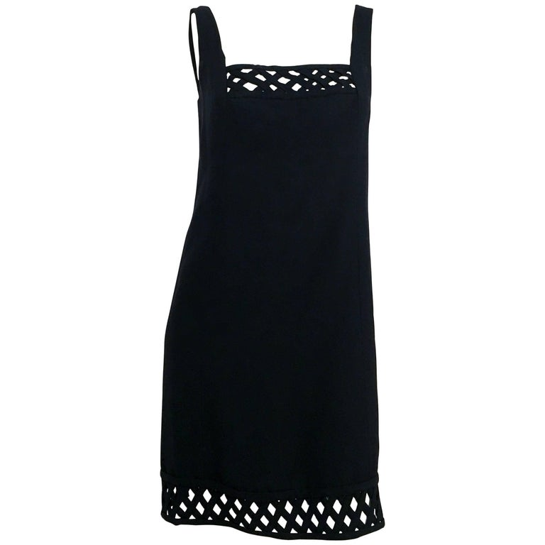 60s Gino Charles Black Crepe Lattice Detail Shift Dress