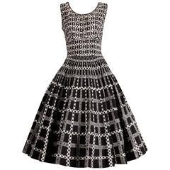 1950s Vintage Black + White Cotton Patio Dress with Rhinestone Flower Appliques