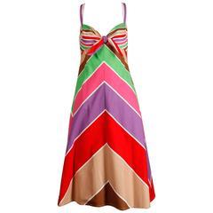 1970s Unworn Joseph Magnin Vintage Rainbow Striped Cotton Sundress with Tags