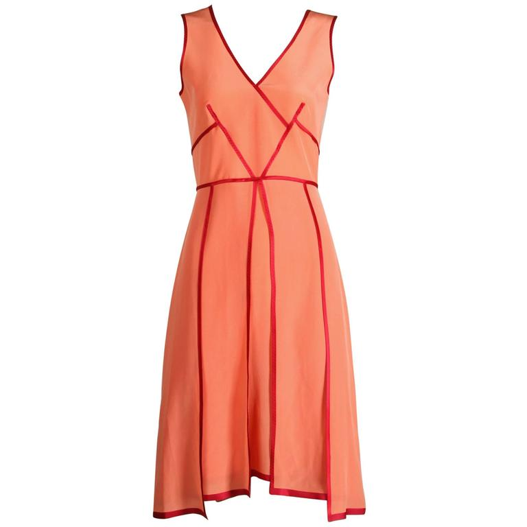 "Unworn with Tags Sportmax by Max Mara Coral + Burgundy Silk ""Eiffel"" Dress"