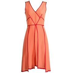 "Sportmax by Max Mara Coral and Burgundy Silk ""Eiffel"" Dress"