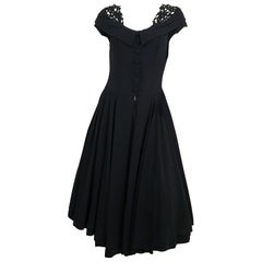 40s Black Crepe A-Line Dress w/ Lace Collar Detail