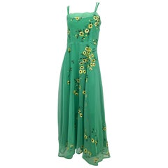 70s Wearable Art Painted Floral Chiffon Maxi Dress