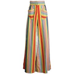 Epic 1970s Betsey Johnson for Alley Cat Vintage Rainbow Striped Palazzo Pants