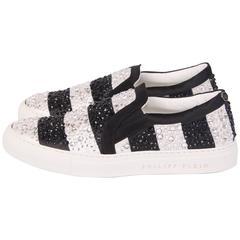 Philipp Plein Slip-On Sneakers Crystal - silver & black