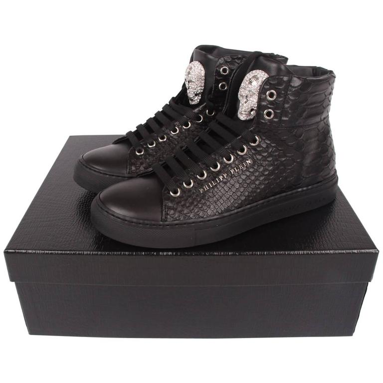 b1dd99c651d Philipp Plein Mid-Top Sneakers Crystal Skull - black leather at 1stdibs