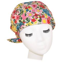 Cute C.1970 Floral Turban Head Wrap Hat