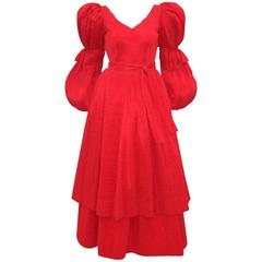 Dramatic C.1980 Adolfo Lipstick Red Micro Pleated Evening Dress
