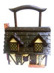 Whimsical Artisan Wood Tudor House Box Purse c 1970