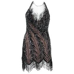 Bob Mackie 20's Inspired Beaded Gatsby Flapper Open Back Dress