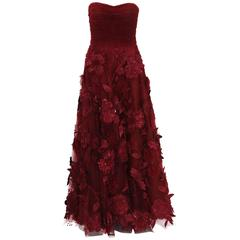 Oscar de la Renta Corset Bordeaux Tulle Leather 3D Floral Embellished Gown