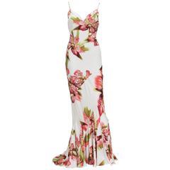 Roberto Cavalli Orchid Flowers Silk Metallic Accent Lace Long Dress It. M