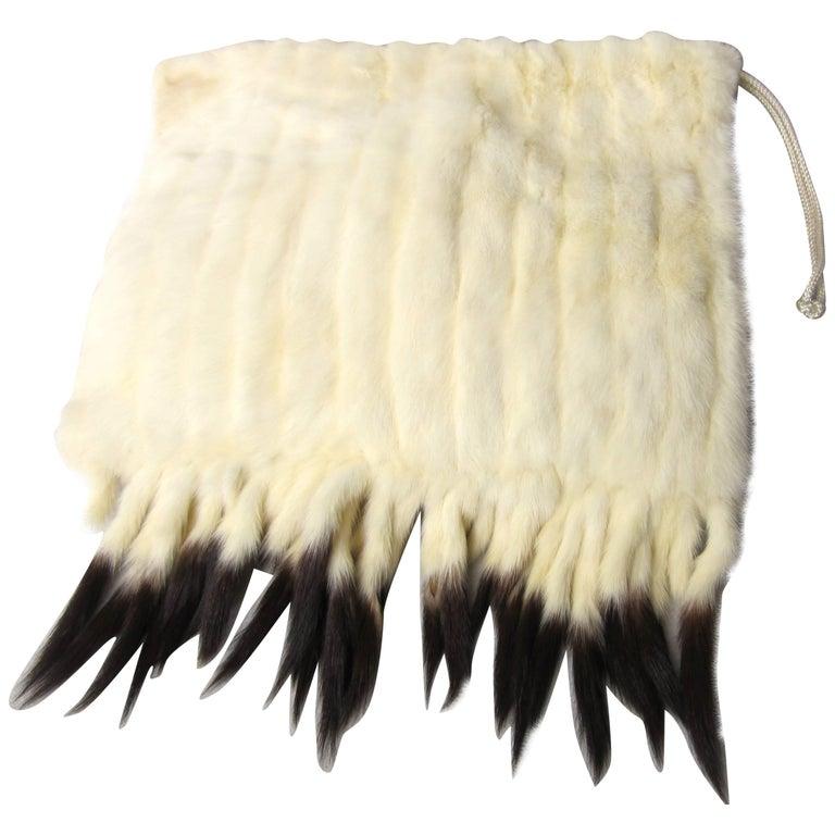 Vintage 1920s White Ermine Fur Muff Handbag