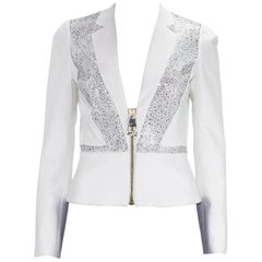 New Versace Crystal Embellished White Blazer Jacket It 38 and 40 - US 4, 6