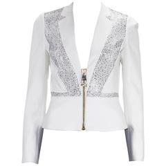 New Versace Crystal Embellished White Blazer Jacket It 38,40,42,44 - US 4,6,8,10