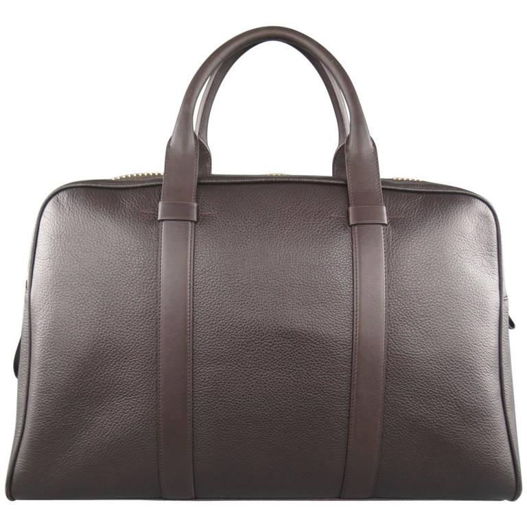 Tom Ford Brown Buckley Leather Travel Trapeze Bag Briefcase