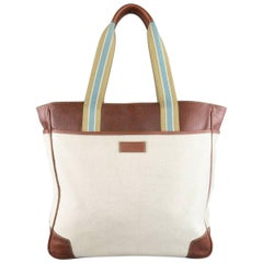 GUCCI Beige Canvas & Guccissima Embossed Leather Tote Bag