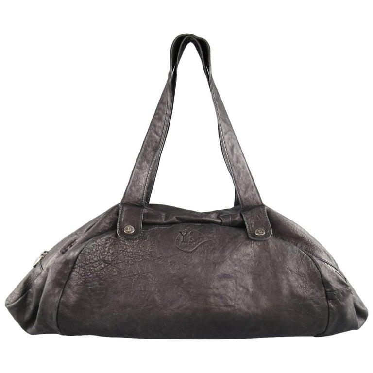 Y s by YOHJI YAMAMOTO x MANDARINA Black Leather Snap Duffle Bag at 1stdibs 70c9b3ae510ae