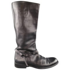 Men's GUCCI Size 11.5 Black Leather Horsebit Harness Knee High Biker Boots