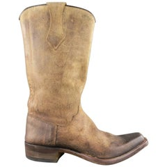 Men's BESTETTI Size 8 Taupe Distressed Leather Western Cowboy Boots