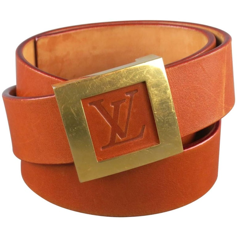 9931d8460e95 LOUIS VUITTON Size 36 LV Monogram Embossed Tan Leather Gold Square Buckle Belt  For Sale
