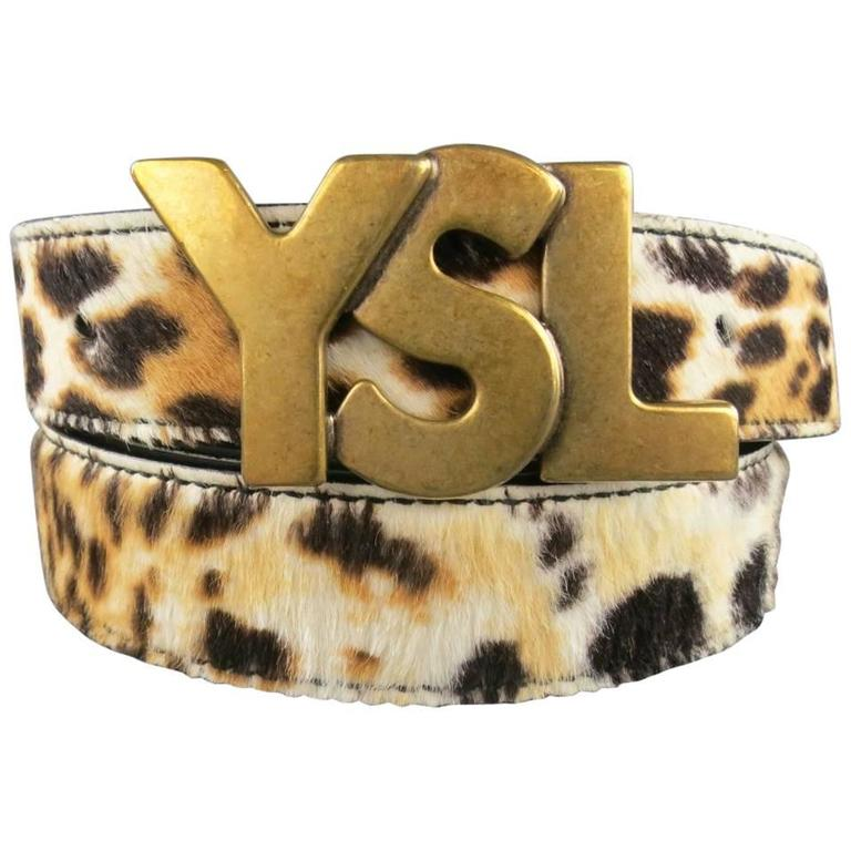 YVES SAINT LAURENT Size 40 Leopard Cheetah Pony Hair Gold Buckle Belt 1