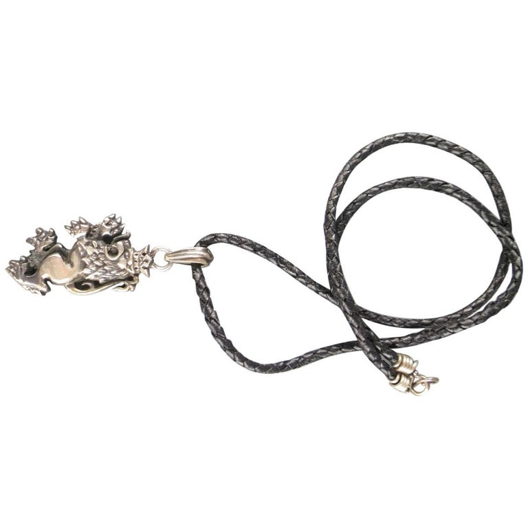 ROYAL UNDERGROUND Sterling Silver Lion Black Leather Necklace 1