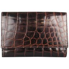 BOTTEGA VENETA Brown Alligator Textured Leather Card Holder Wallet