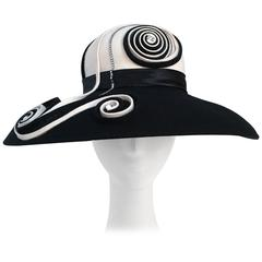 80s Black and White Wide Brim Hat w/ Spiral Detail