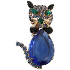 60s Alice Caviness Blue Rhinestone Cat Brooch