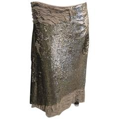 Maurizo Pecoraro Silver Sequin Skirt Sz 44