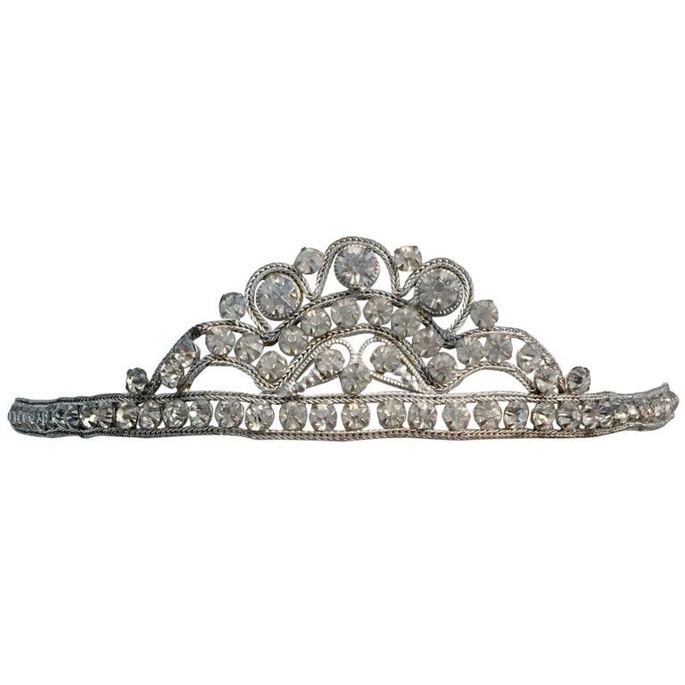 20s Silver Toned Brass Tiara Headband
