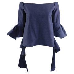 Ellery Navy Blue Dolores Off Shoulder Ruffle Sleeve Top Shirt