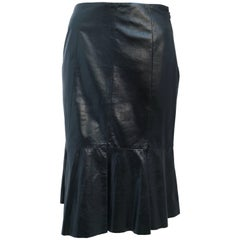 80s Olivier Theyskens Leather Skirt