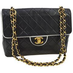Chanel Vintage Black White Piping Gold Evening Shoulder Flap Bag