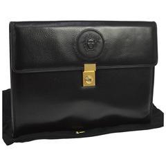 Versace Medusa Head Black Leather Envelope Evening Flap Clutch Bag with Key