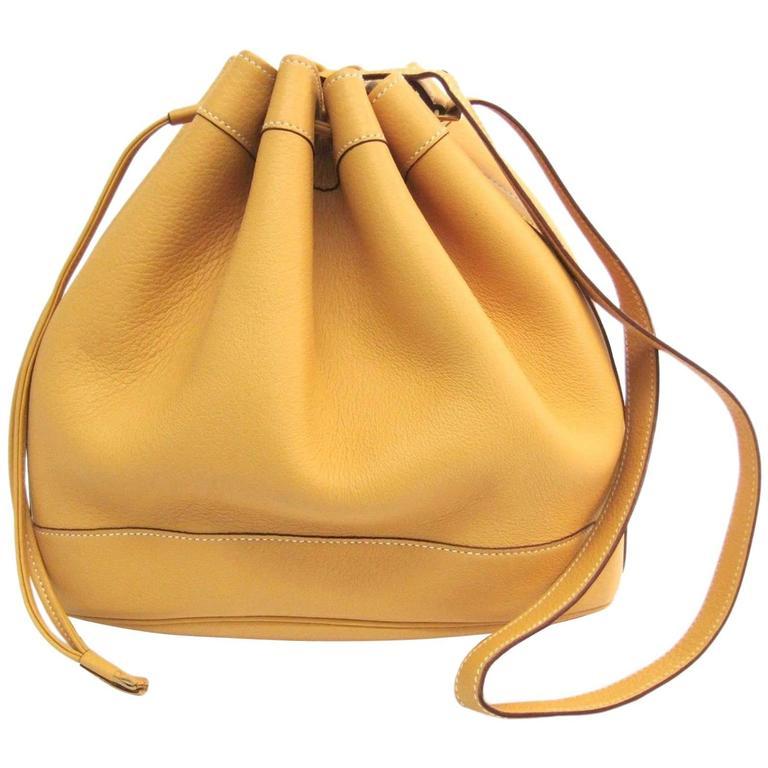 Hermes Vintage Mustard Yellow Leather Bucket Drawstring Carryall Shoulder Bag
