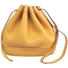 Hermes Vintage Mustard Yellow Leather Bucket Drawstring Carryall Shoulder Bag