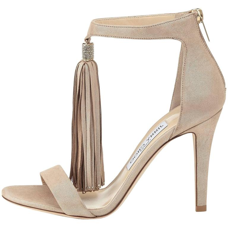Jimmy Choo New Sold Out Leather Gold Crystal Evening Tassel Sandals Heels in Box For Sale