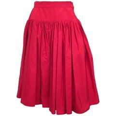 80s Valentino Night Red Ruffled Skirt