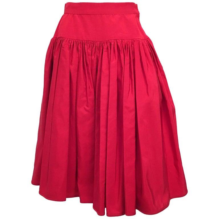 80s Valentino Night Red Ruffled Skirt For Sale