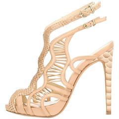 Alexandre Birman New Nude Leather Snakeskin Python Cut Out Heels Sandals in Box