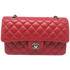 Chanel Classic Double Flap Red Lambskin Leather Silver Metal Shoulder Bag