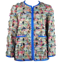 Chanel 2017 Spring/Summer Runway Multi-color Cotton Tweed Jacket FR36 New