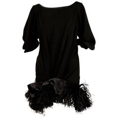 Yves Saint Laurent Black Silk Dress with Marabou Feather Trim, 1970s