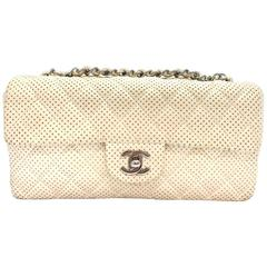 Chanel White Quilting Lambskin Leather Shoulder Tote Bag