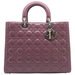 Christian Dior Lady Dior Pale Purple Quilted Patent Leather Satchel