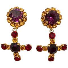 1980s Dominique Aurientis Paris Purple and Amber Rhinestones Clip Earrings