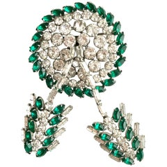1950s Green and Silver Rhinestones Brooch